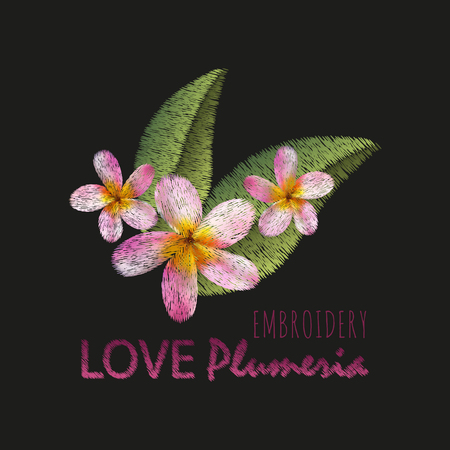 Embroidery imitation floral pattern design.Vector illustration satin stitch fashion ornament with plumeria flowers, leaves, text on black background.