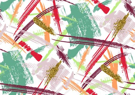 cross hatched: Vector seamless pattern with hand drawn gold glitter textured brush strokes and stripes hand painted. White, golden, pink, red, blue, green colors. Illustration