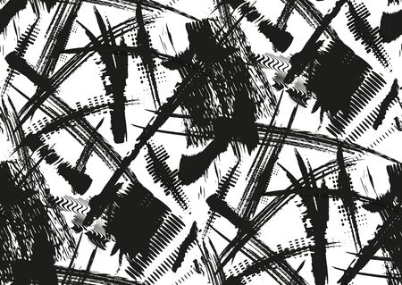 careless: Vector seamless pattern with hand drawn textured brush strokes and stripes hand painted. Black and white colors.