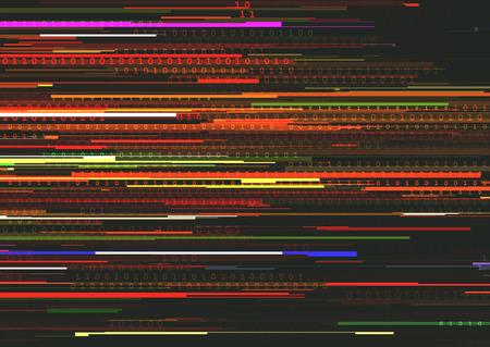 0 と 1 の 2 つの 2進数とストリーム ライン バイナリ コード背景 glitched 横縞模様の抽象的な背景。信号エラー、コンピューター ・ コーディング、ハ