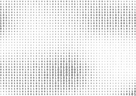 Flux de lignes code binaire fond noir et blanc avec deux chiffres binaires, 0 et 1 isolés sur fond blanc. Codage informatique, piratage, concept de cryptage. Illustration vectorielle à demi-teinte.