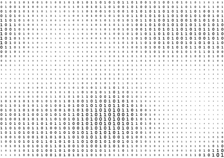 Stream line binary code black and white background with two binary digits, 0 and 1 isolated on a white background. Computer coding, hacker, encryption concept. Halftone vector illustration.