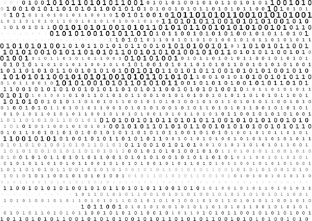 cryptogram: Stream line binary code black and white background with two binary digits, 0 and 1 isolated on a white background. Computer coding, hacker, encryption concept. Halftone vector illustration.