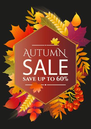 Autumn sale poster, flyer template. vector illustration. Illustration