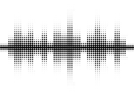 Halftone sound wave black and white pattern.