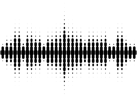Halftone sound wave black and white pattern. Tech music design elements isolated on white background.