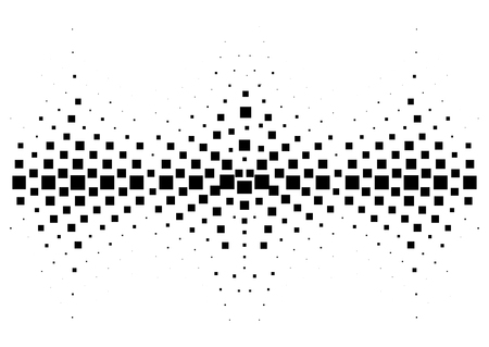Halftone sound wave black and white pattern. Tech music design elements isolated on white background. Perfect for web design, posters, musical banners, wallpapers, postcards. Illustration