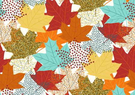Maple leaves seamless pattern, flat design template, vector illustration