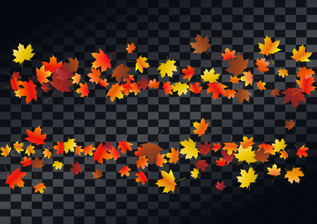Abstract autumnal background with flying maple leaves. Fall .