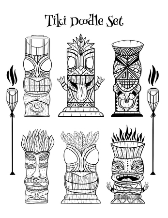 Wood Polynesian Tiki idols, gods statue carving, torch. Line art vector illustration set.
