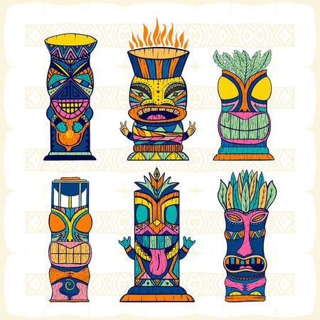 Colourful Wood Polynesian Tiki idols, gods statue carving. Vector illustration set. Illustration