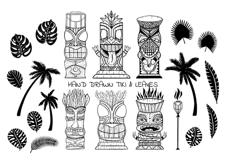 Wood Polynesian Tiki idols, gods statue carving, torch, palm trees, tropical leaves. Line art vector illustration set.