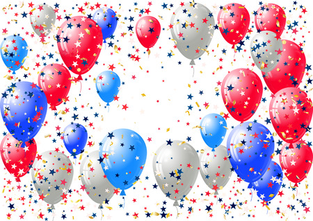 Abstract background with scattered confetti and balloons. Blank festive holiday card template for Independence day, Patriot Day, Memorial day, Veterans day, Presidents day. Illustration