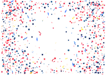 Abstract background with flying red blue silver stars confetti isolated. Blank festive template for usa patriotic holidays celebration 4th July, Patriot Day, President Day, American Independence Day.