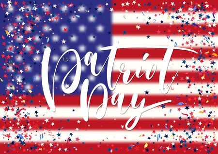Abstract background with flying red blue silver stars confetti on usa flag background. Festive template for Patriot Day holiday celebration. Illustration