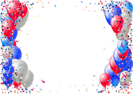 Abstract background with scattered confetti and balloons. Illustration