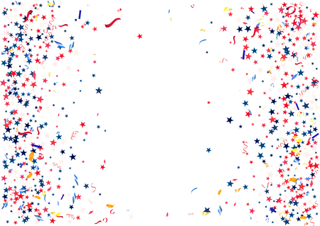 Abstract background with flying red blue silver stars confetti Illustration