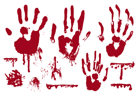 Blood realistic marks of hand, dripping drops, splatters, spray, stains, smears set. Vector illustration isolated on the white background.