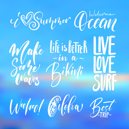 Handwritten lettering, summer holidays and vacation quotes set on abstract blurry sky, sea water texture