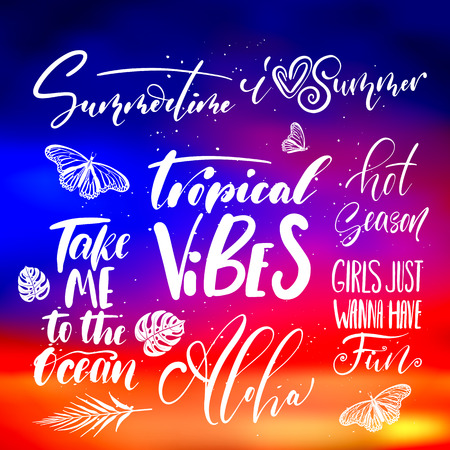 Handwritten lettering, summer holidays and vacation quotes set on abstract blurry sunrise, sundown sky texture backdrop Vector Illustration