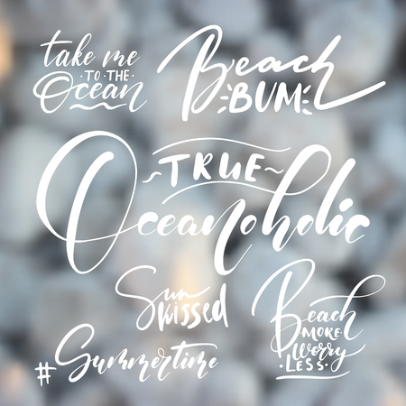 Handwritten lettering, summer holidays and vacation quotes set on blurry pebbles texture backdrop.