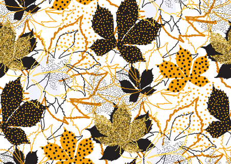 Fall leaves seamless pattern with gold glitter texture. Vector illustration for stylish background, card, banner, textile, wrapping paper design. Black,white and golden colors.