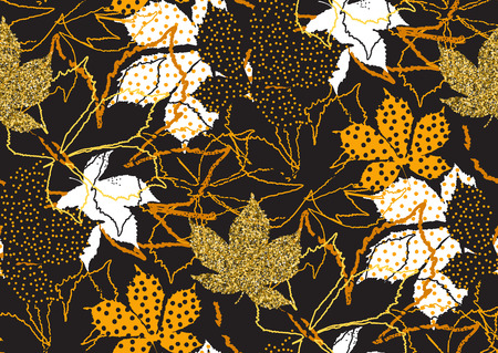 Fall leaves seamless pattern with gold glitter texture. Vector illustration for stylish background, textile, card, banner, wrapping paper design. Black, white and golden colors.