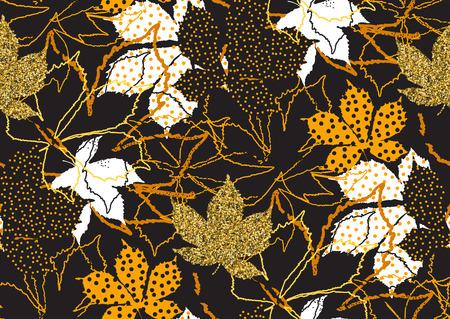 L'automne laisse un modèle sans couture avec une texture de paillettes d'or. Illustration vectorielle pour fond élégant, textile, carte, bannière, conception de papier d'emballage. Couleurs noir, blanc et doré.