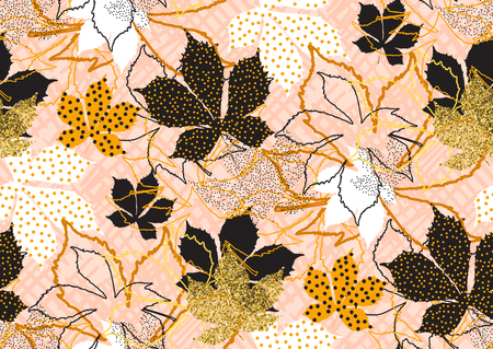 Fall leaves seamless pattern with gold glitter texture. Vector illustration for stylish background, textile, card, banner, wrapping paper design. Black, white, pink, golden colors. Illustration