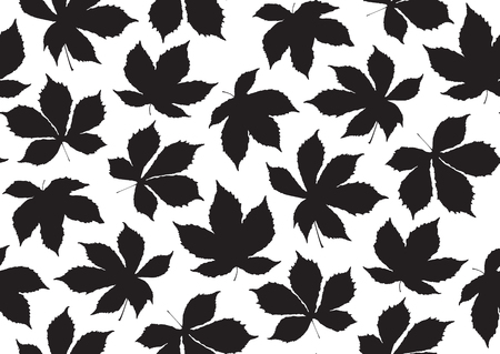 Fall leaves seamless pattern. Vector illustration for stylish background, textile, card, banner, wrapping paper design. Black and white colors.