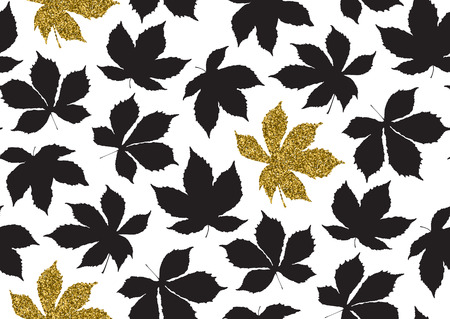 Fall leaves seamless pattern with gold glitter texture. Vector illustration for stylish background, banner, textile, wrapping paper design. Black, white and golden colors. Ilustrace