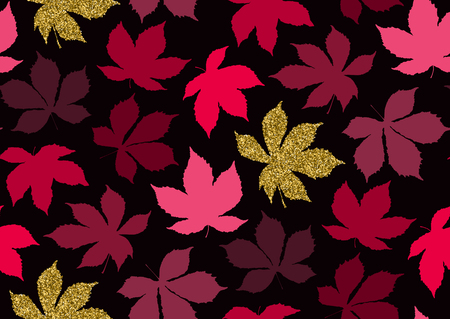 Autumnal leaves seamless pattern with gold glitter texture. Vector illustration for stylish background, banner, textile, wrapping paper design. Black, golden, pink colors.