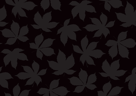 Autumnal leaves seamless pattern. Vector illustration for stylish background, banner, textile, wrapping paper design. Black and grey colors.
