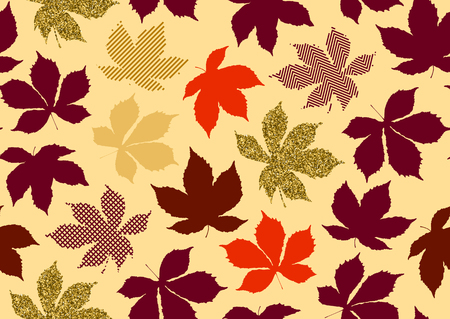 Fall leaves seamless pattern. Vector illustration for stylish background, textile, banner, wrapping paper design. Red, yellow, orange, golden pink colors