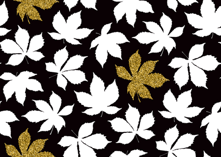 Fall leaves seamless pattern with gold glitter texture. Vector illustration for stylish background, textile, banner, wrapping paper design. Black,white and golden colors. Ilustrace