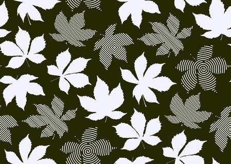 Fall leaves seamless pattern. Vector illustration for stylish background, textile, banner, wrapping paper design. Black and white colors.