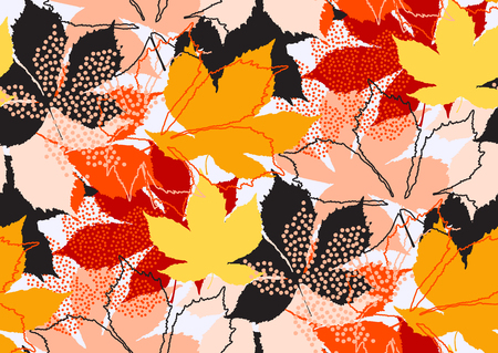 Fall leaves seamless pattern with gold glitter texture. Vector illustration for stylish background, banner, textile, wrapping paper design. Black, white, pink, orange, red, yellow golden colors
