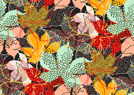 Fall leaves seamless pattern with gold glitter texture. Vector illustration for stylish background, banner, textile, wrapping paper design. Black, white, pink, orange, red, yellow, mint golden colors Ilustrace