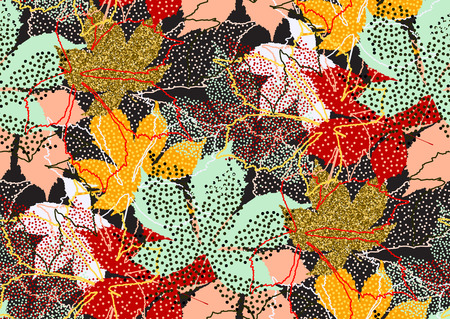 Fall leaves seamless pattern with gold glitter texture. Vector illustration for stylish background, textile, wrapping paper design. Stock Photo