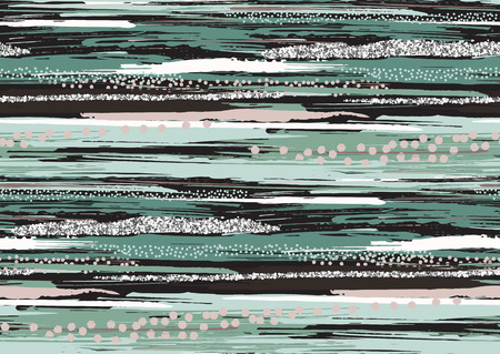 Vector seamless pattern with hand drawn silver glitter textured brush strokes and stripes hand painted. Black, silver, pink, green, grey colors.