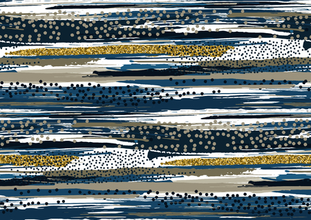 Vector seamless pattern with hand drawn gold glitter textured brush strokes and stripes hand painted. Black, gold, blue, grey, brown colors. Illustration
