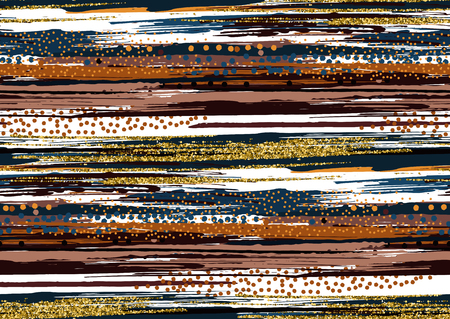 Vector seamless pattern with hand drawn gold glitter textured brush strokes and stripes hand painted. Black, gold, pink, blue, brown colors.