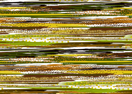 Vector seamless pattern with hand drawn gold glitter textured brush strokes and stripes hand painted. Black, gold, green, yellow, brown colors.