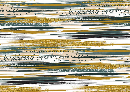 Vector seamless pattern with hand drawn gold glitter textured brush strokes and stripes hand painted. Black, gold, pink, green, blue, brown colors. Ilustrace