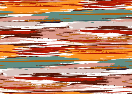 Vector seamless pattern with hand drawn rough edges textured brush strokes and stripes hand painted. Black, pink, green, red, orange, brown colors.