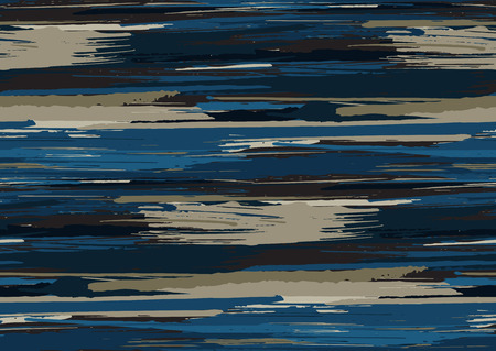 Vector seamless pattern with hand drawn rough edges textured brush strokes and stripes hand painted. Black, blue, grey colors.