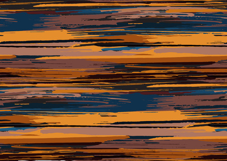 Vector seamless pattern with hand drawn rough edges textured brush strokes and stripes hand painted. Black, blue, sienna, brown colors.