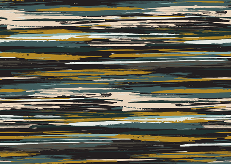 Vector seamless pattern with hand drawn rough edges textured brush strokes and stripes hand painted. Black, grey, ocher, green, brown colors.