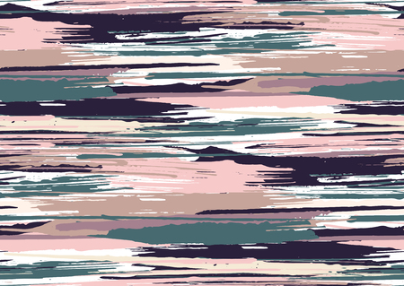 Vector seamless pattern with hand drawn rough edges textured brush strokes and stripes hand painted. Black, pink, blue, grey colors.