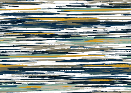 Vector seamless pattern with hand drawn rough edges textured brush strokes and stripes hand painted. Black, blue, grey, green, brown colors.